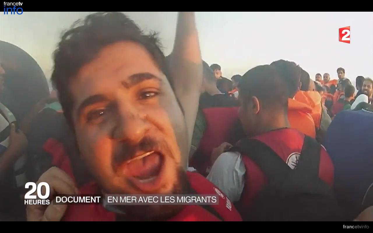 Extrait du reportage à bord d'une chaloupe de migrants diffusé sur France 2 le 14 septembre 2015 (FRANCK GENAUZEAU et GIONA MESSINA - FRANCE 2)