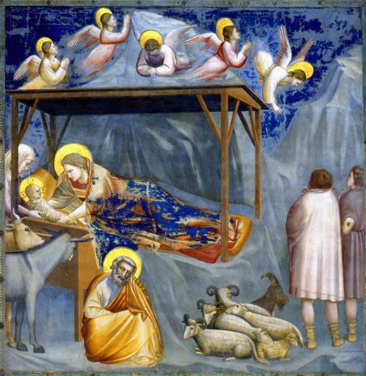 Giotto di Bondone (1267-1337), Nativité, 1304-1306, fresque, 200 x 185 cm, Padoue, chapelle Scrovegni