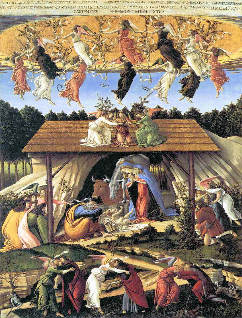 Sandro Botticelli (1445-1510), La Nativité mystique, vers 1500-1501, huile sur toile, 108 x 74 cm, Londres, National Gallery