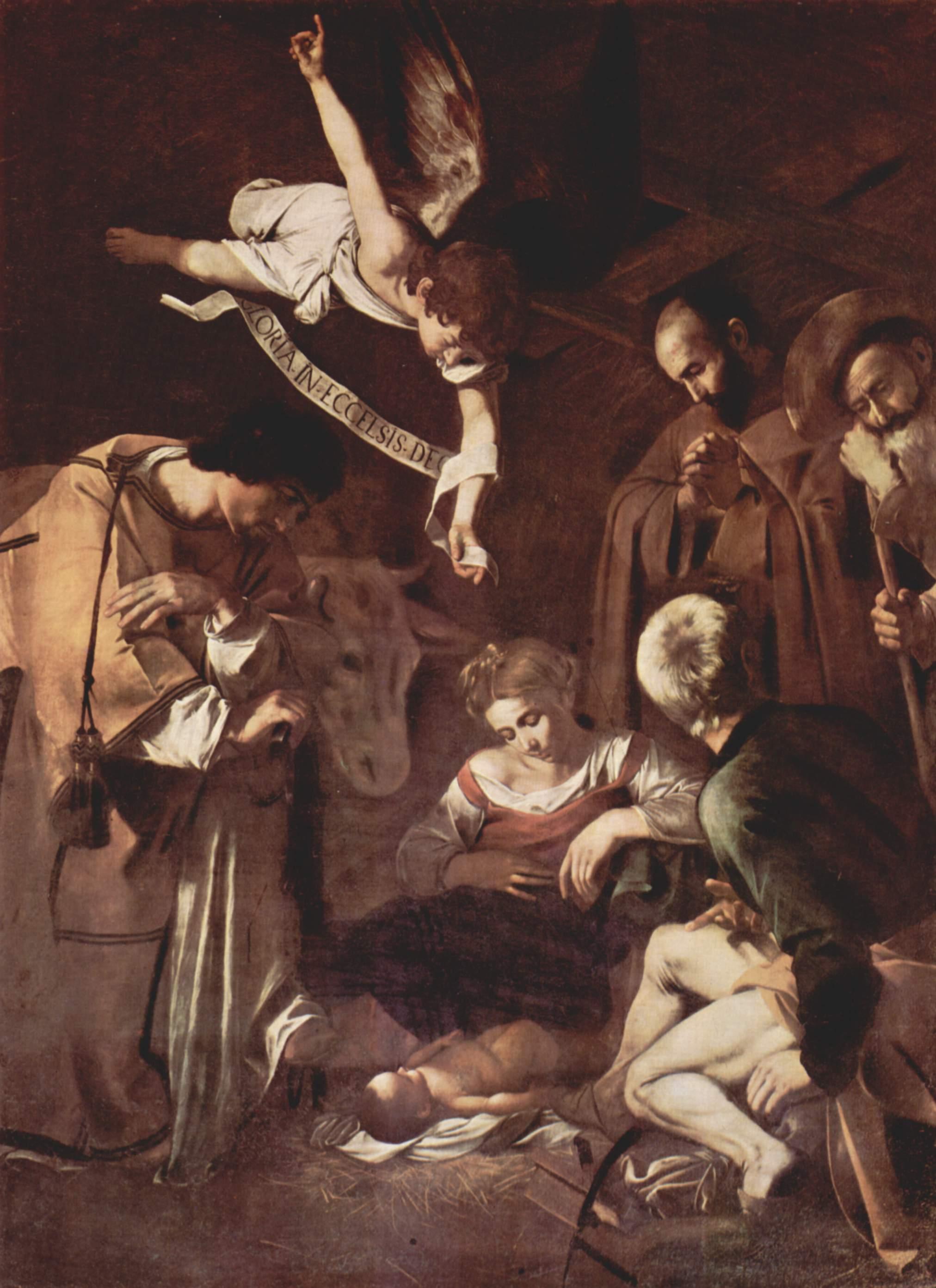 Le Caravage (1571-1610), Nativité avec saint François et saint Laurent, 1609, huile sur toile, Palerme, église Saint-Laurent