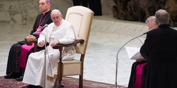 Le pape François lors de l'audience générale du 20 janvier 2016 salle Paul VI