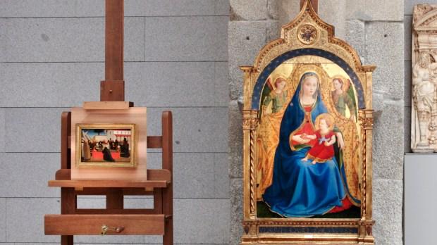 Fra Angelico, Vierge à l'enfant avec deux anges, dite Madonna de la granada, et Fra Angelico, Funérailles de saint Antoine Abbé © Museo Nacional del Prado