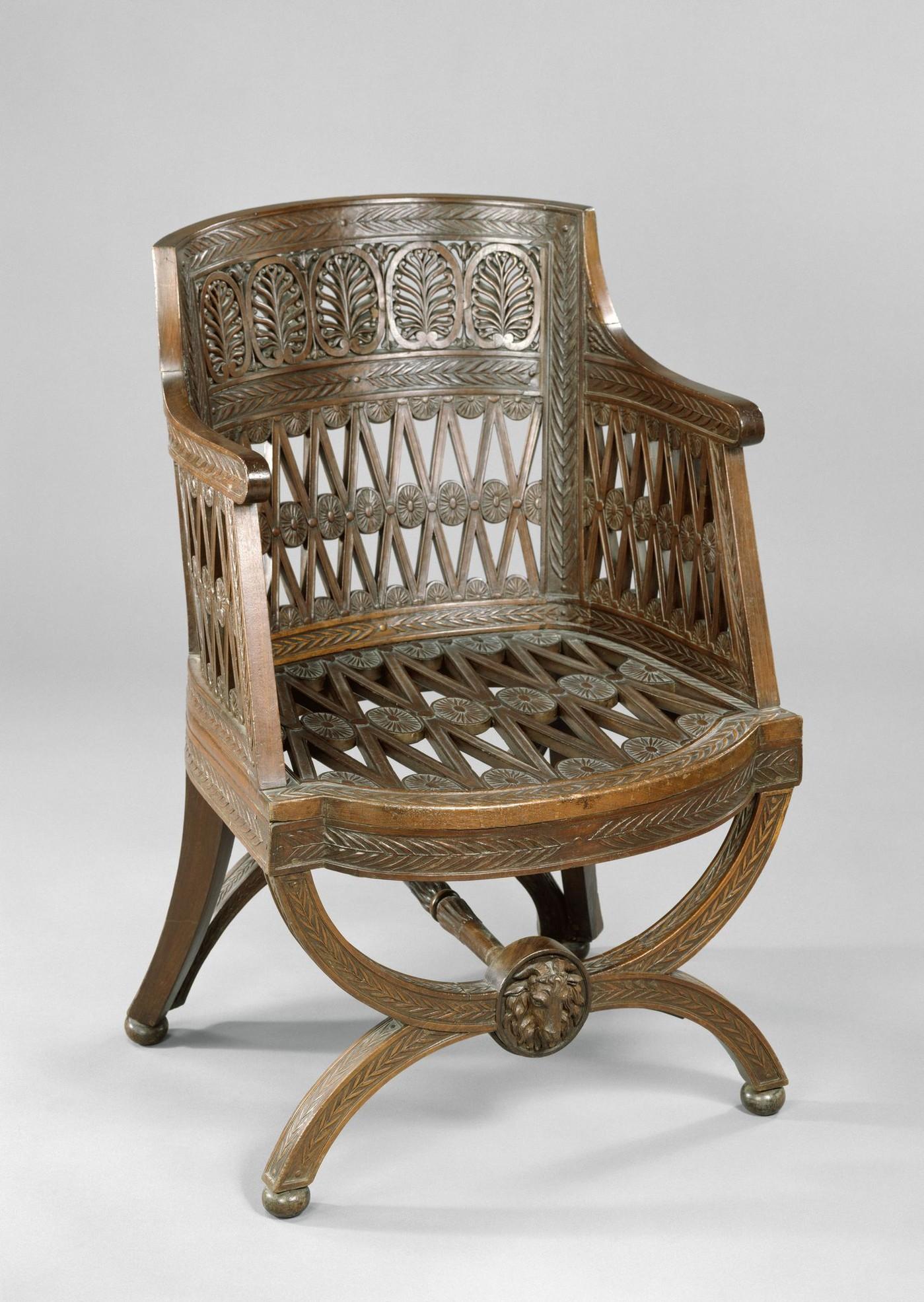 Un des quatre fauteuils de la laiterie de la reine à Rambouillet, 1787, Acajou sculpté  Versailles © La Croix