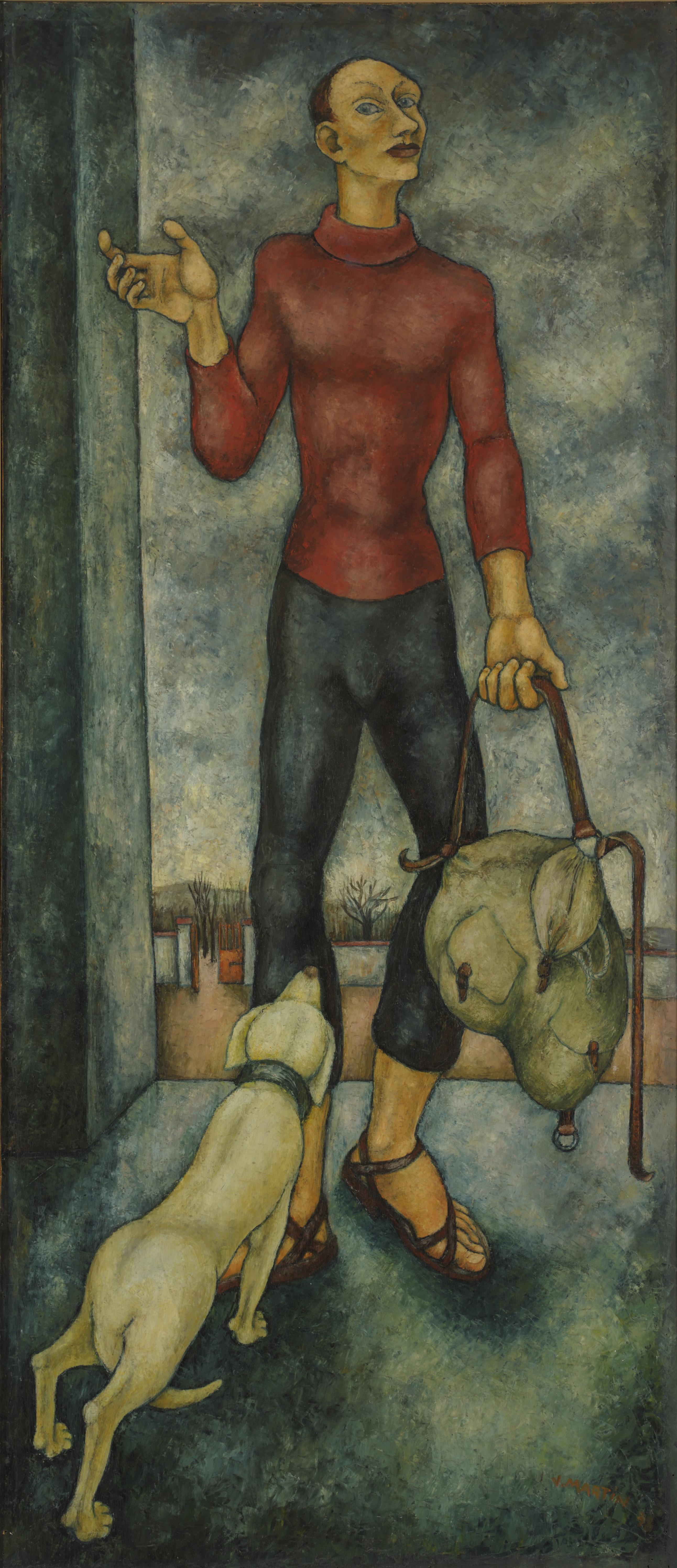 Jean Martin : L'Exilé, 1938, huile sur panneau, 170 × 75 cm, don de Françoise Martin en 2011, Roubaix, La Piscine © Musée d'art et d'industrie André Diligent.