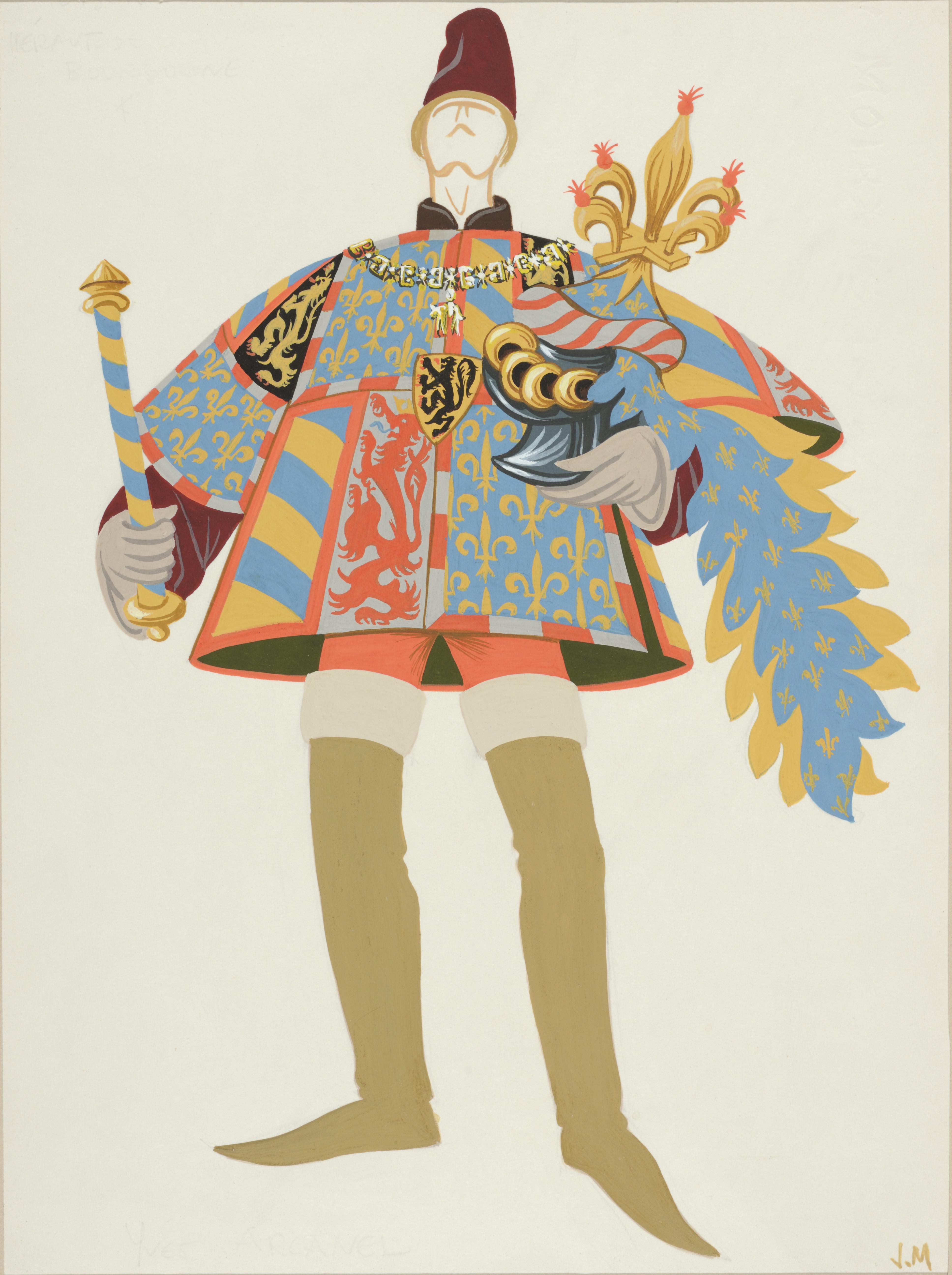 Maquette de costume pour le Héraut de Bourgogne dans La Longue chasse du Roi Louis, de Jean Martin, 1970, gouache et encre sur papier, 31,1 x 23 cm, don de Janine Martin, fille de l'artiste. © Alain Leprince