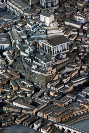 Detail of a model of ancient Rome preserved in the Museum of Roman Civilisation, Rome, Italy.