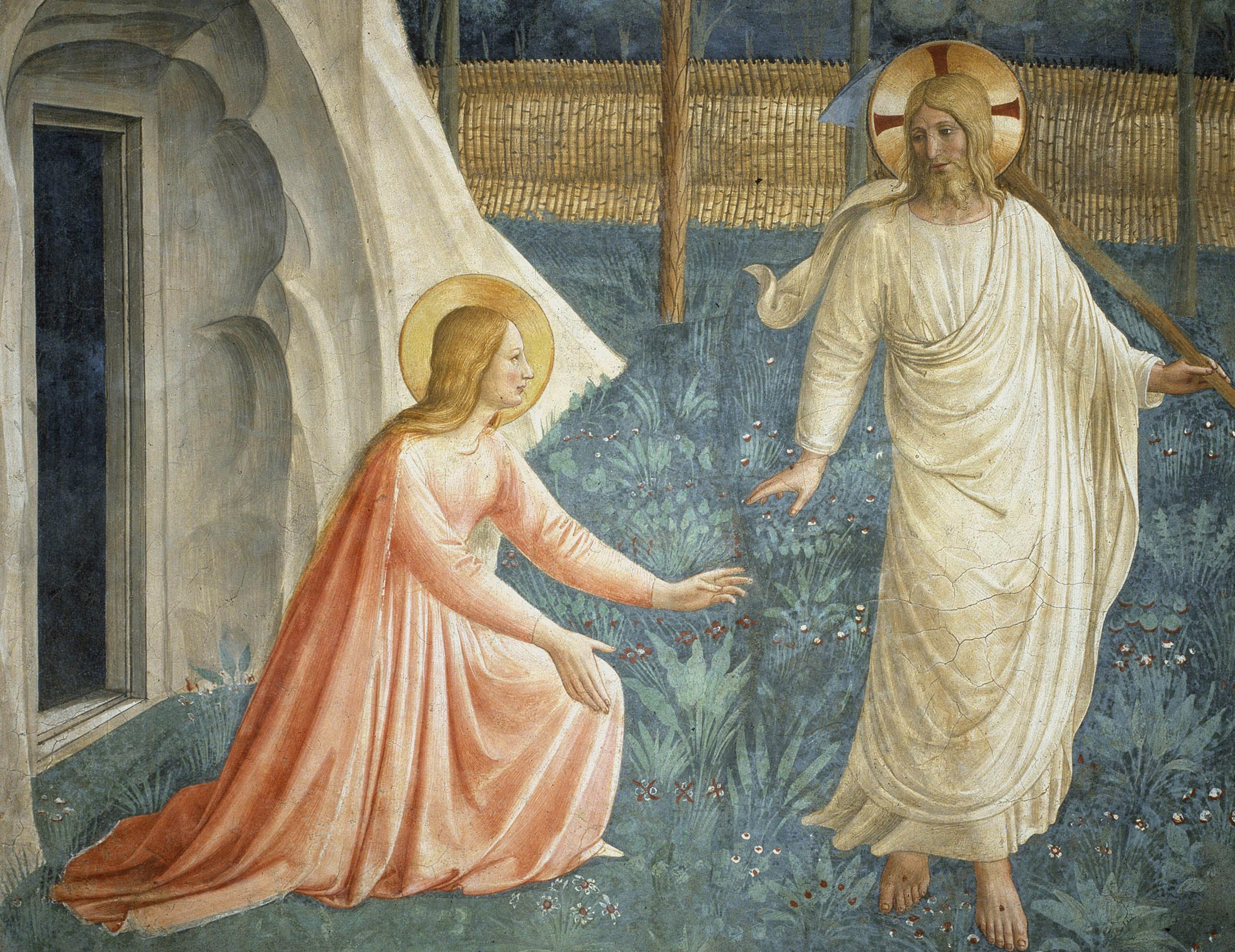 Jesus Christ ressuscité refuse d'être touché par Sainte Marie Madeleine. Fresque de Guido di Pietro (ou Fra Giovanni da Fiesole) dit Fra Angelico ou il Beato (1400-1455), 1442.