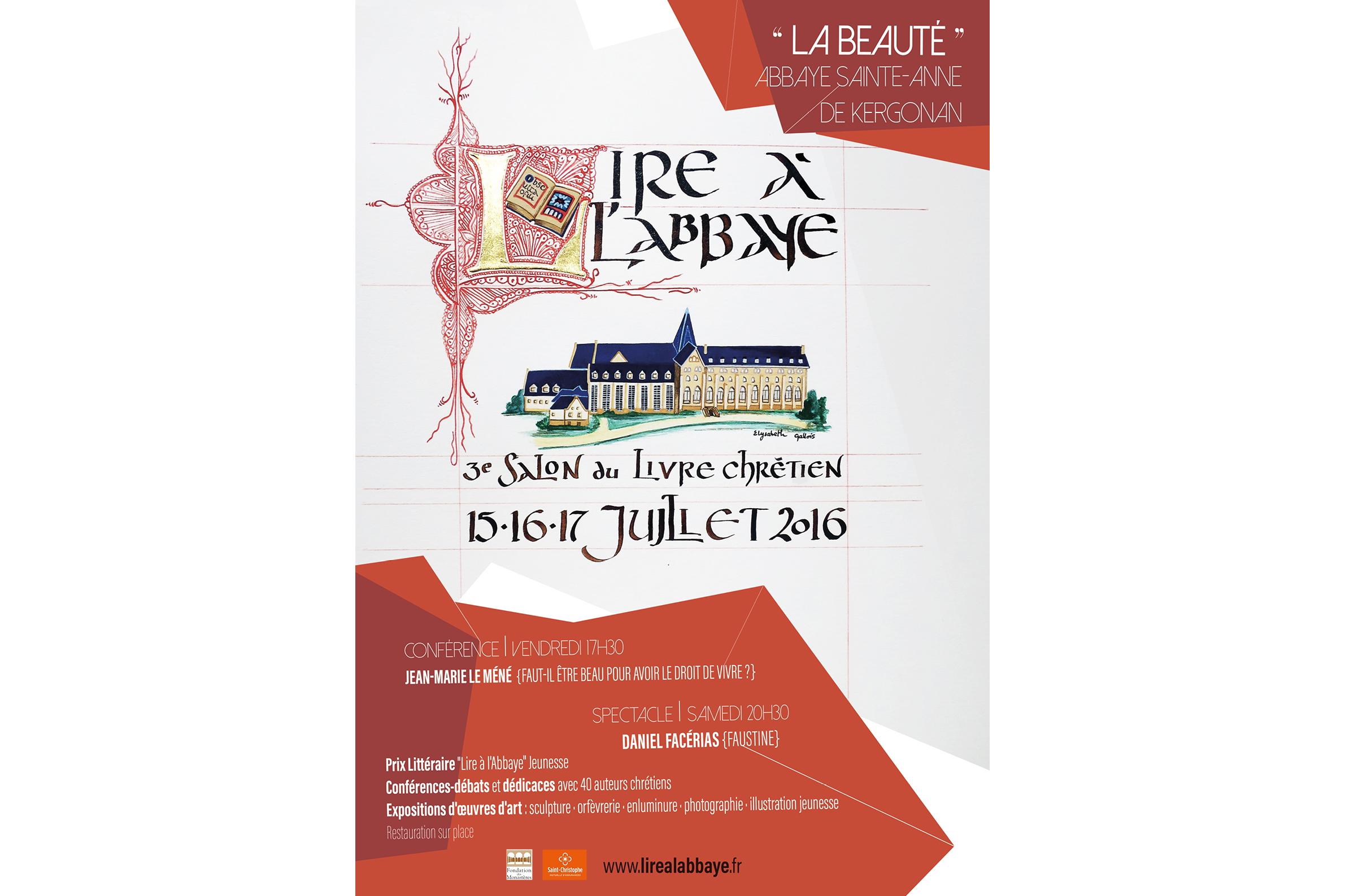 Affiche de Lire à l'Abbaye, salon du livre chrétien à l'Abbaye de Kergonan © lirealabbaye.fr/