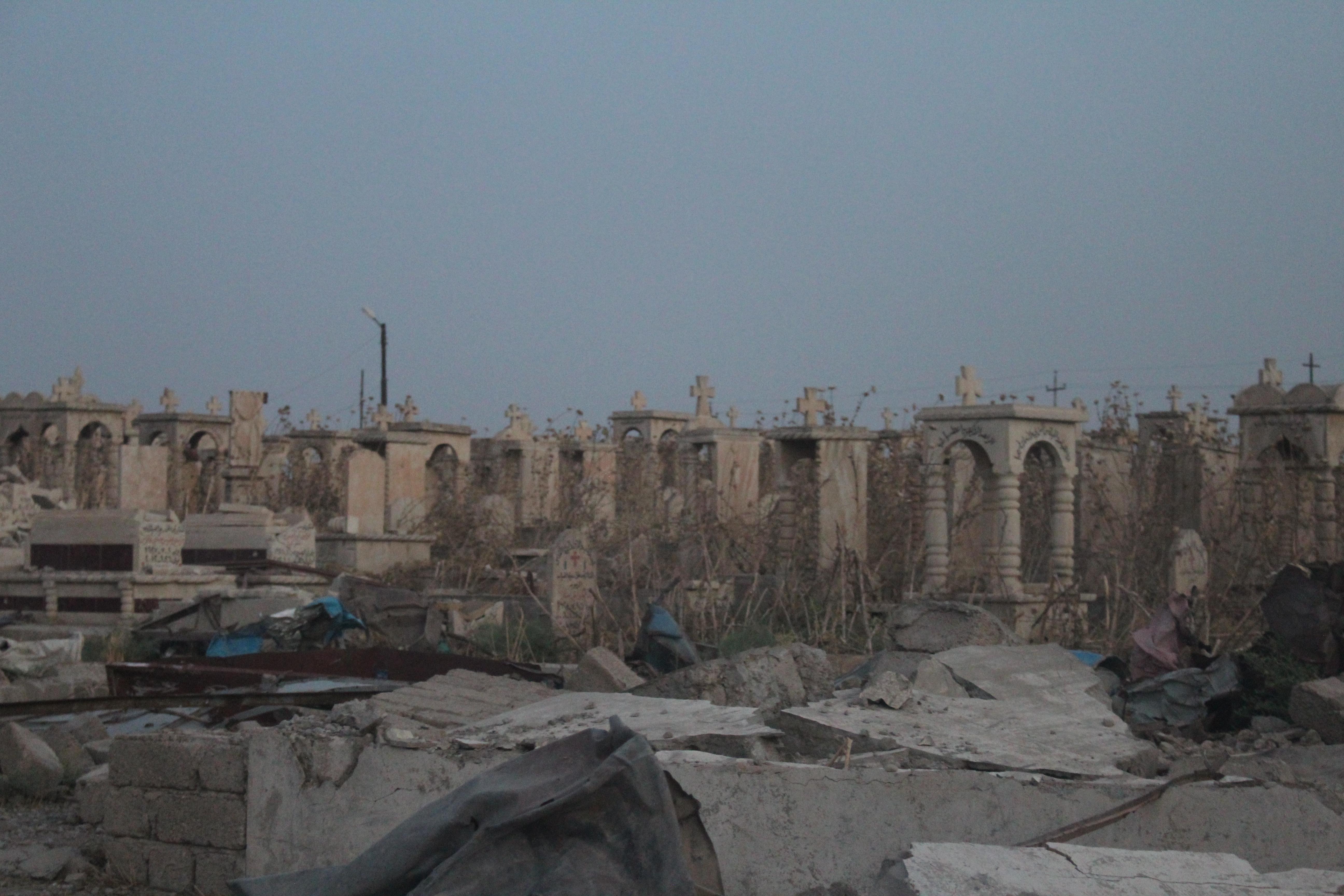 Le village de Telskuf sous les décombres, fut occupé par Daesh il y a quelques mois. © Sylvain Dorient