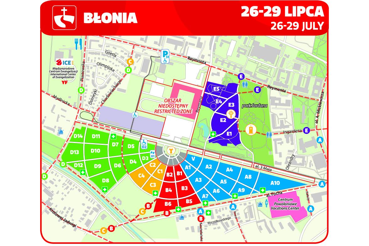 Carte de la plaine du Blonia © http://www.krakow2016.com/