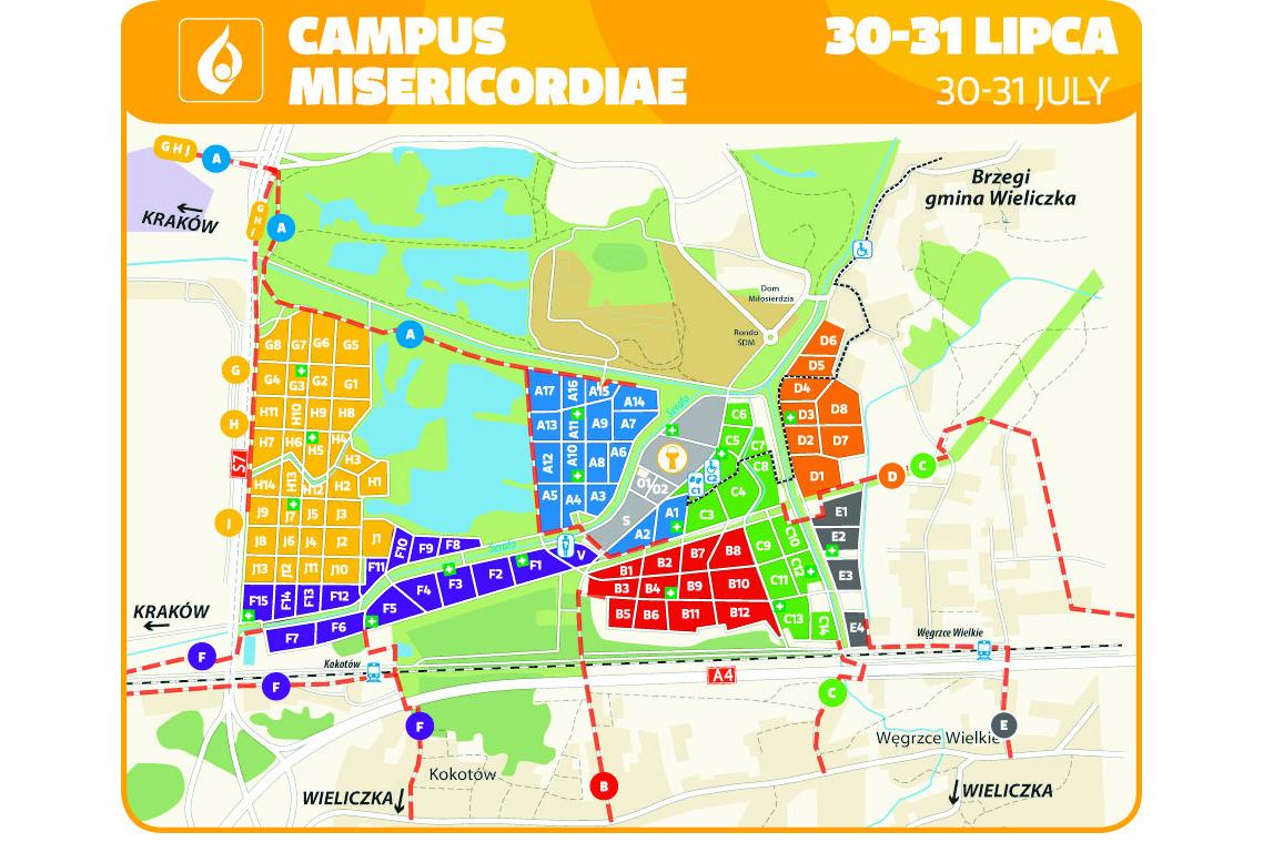 Carte du Campus Misericordiae © http://www.krakow2016.com/