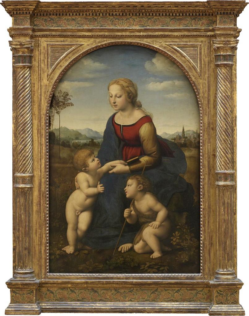 Raffaello Santi dit Raphaël (1483-1520), La Vierge à l'enfant avec le petit saint Jean-Baptiste, 1507-1508, huile sur panneau, 122 x 80 cm, Paris, musée du Louvre © Musée du Louvre