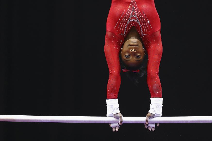 10 juillet 2016, à San José (Californie). Simone Biles passe l'épreuve de la gymnastique au sol.  © Ezra Shaw/Getty Images/AFP