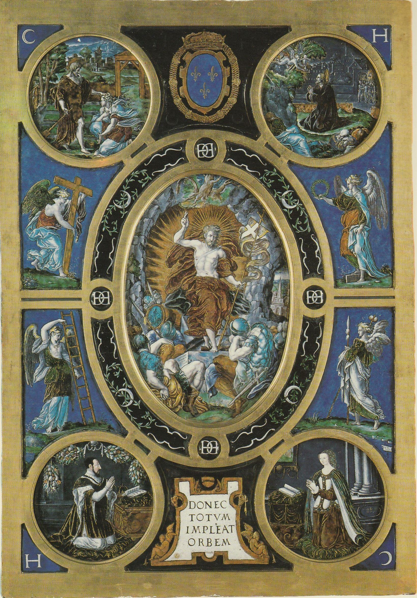 Léonard Limosin, d'après Niccolò dell'Abbate, La Résurrection du Christ, Retable de la Sainte-Chapelle, 1552-53, émaux peints sur cuivre, cadre de bois doré, 107 x 75 cm, Paris, musée du Louvre © Musée du Louvre