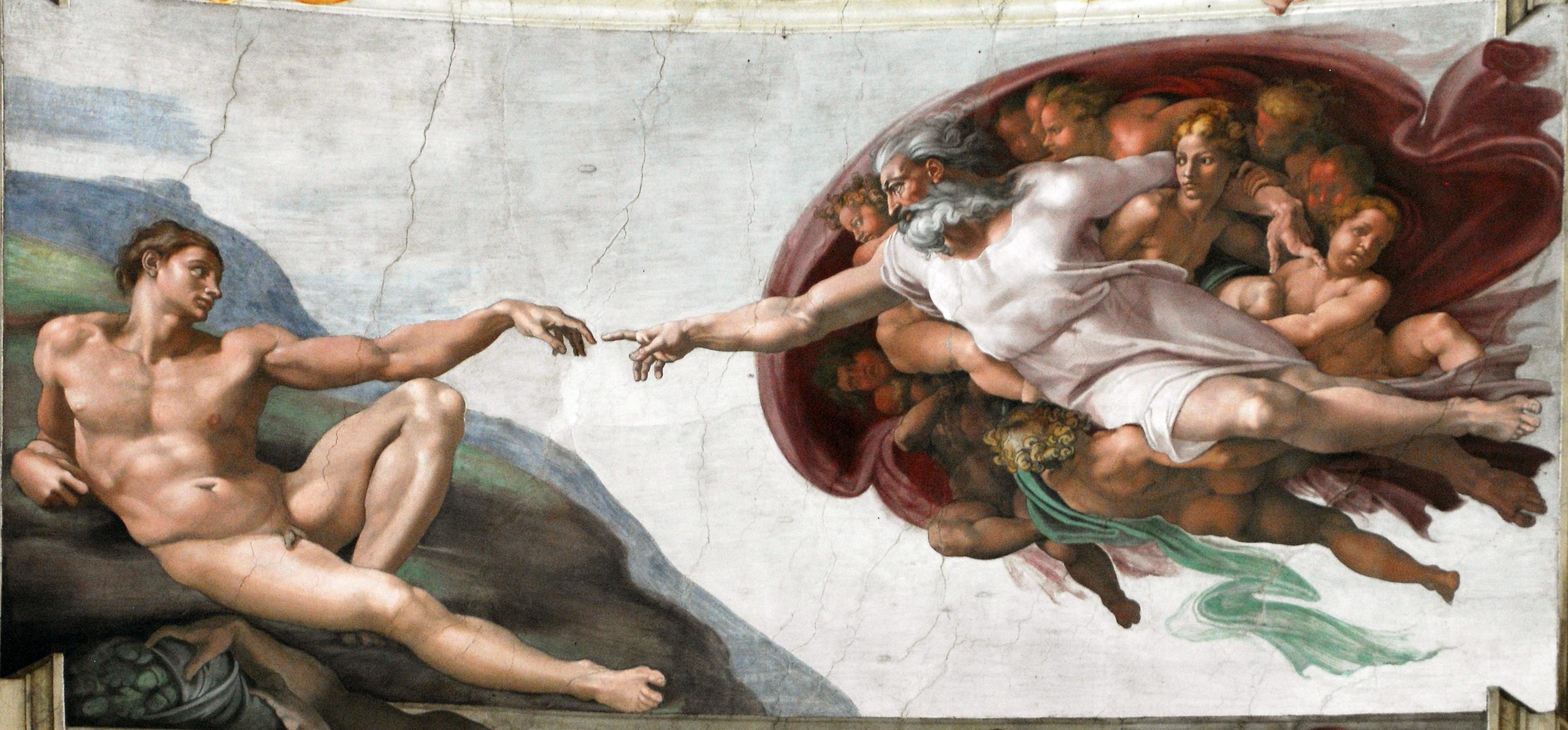 Fresque de Michel-Ange sur la voûte de la chapelle Sixtine du Vatican à Rome © Wikimedia