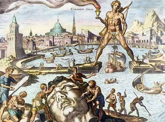 Colosse de Rhodes, imaginé dans une gravure du xvie siècle par Maarten van Heemskerck © Wikipedia