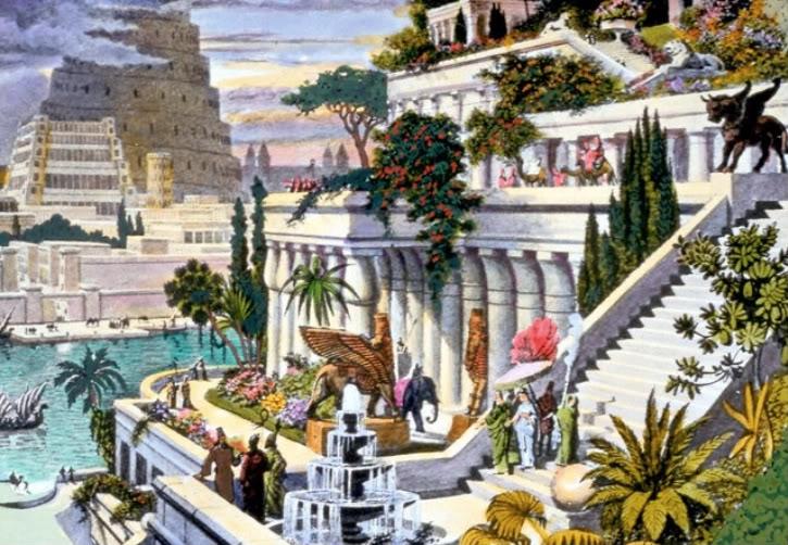 Vue d'artiste des jardins suspendus de Babylone, xixe siècle.