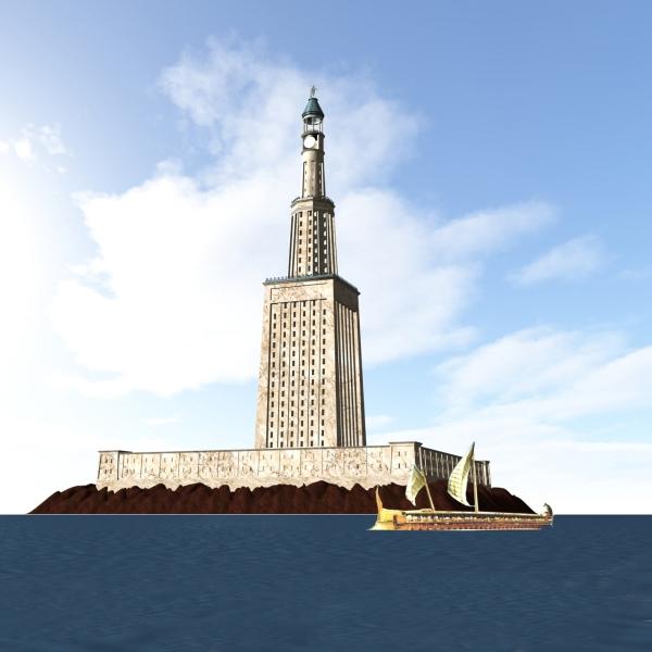 Reconstruction en image de synthèse du phare d'Alexandrie © Wikipedia