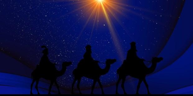 Gaspard, Melchior et Balthazar, sont venus d'Orient pour saluer l'Enfant-Jésus.