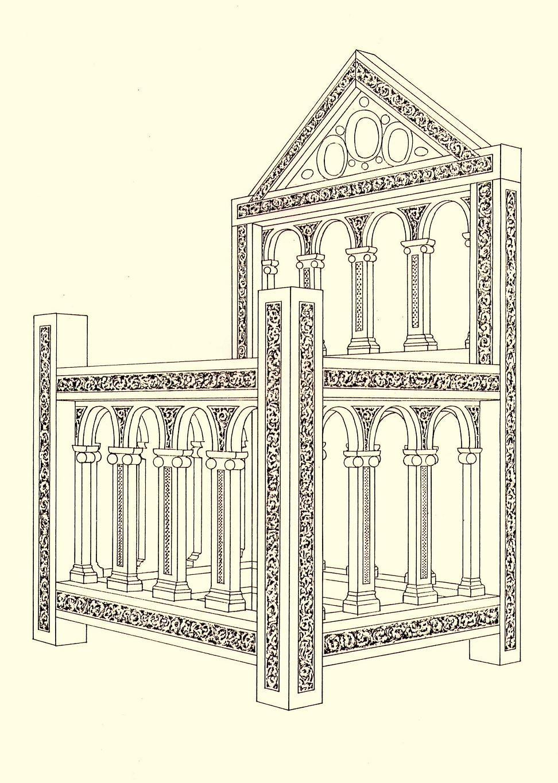 Reconstitution de la forme originale de la chaire © Wikipedia