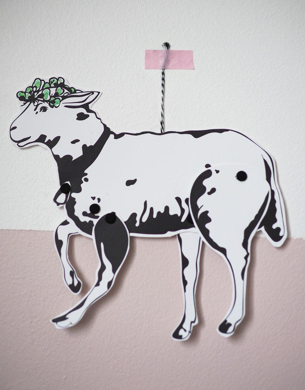 Découpage et coloriage d'agneau pour Pâques