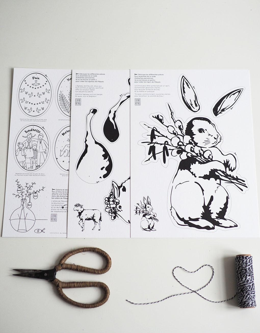 Découpage et coloriage de lapin pour Pâques