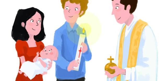 Parrain et marraine lors d'un baptême