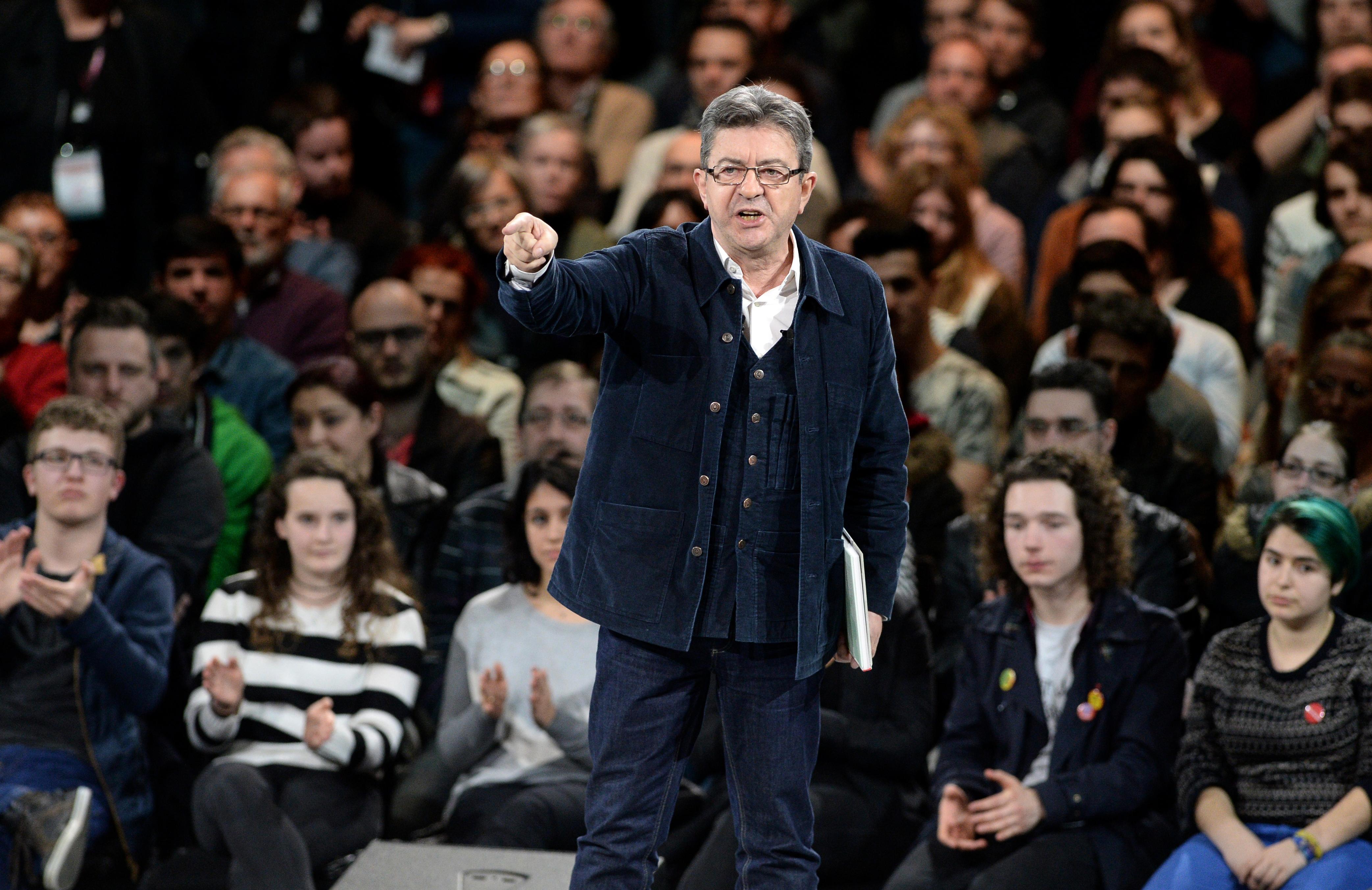 Jean-Luc Mélenchon lors de son meeting à Rennes du 26 mars 2017