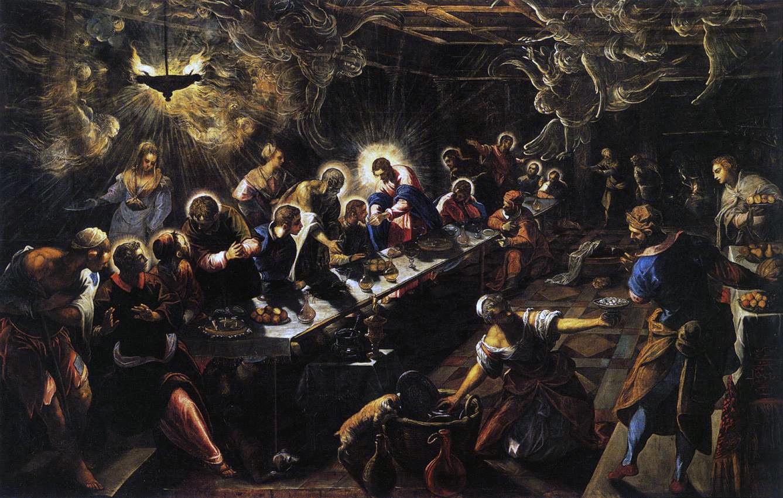 Jacopo Robusti dit le Tintoret, La dernière Cène, 1593, huile sur toile, Venise, San Giorgio Maggiore © Web Gallery of Art