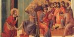 Lavement des pieds, par Duccio di Buoninsegna, entre 1308 et 1311 © Wikimedia