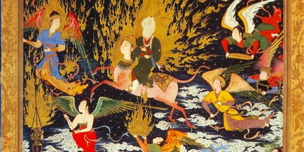 Une miniature persane du xvie siècle célébrant l'ascension de Mahomet aux cieux. © Wikipedia