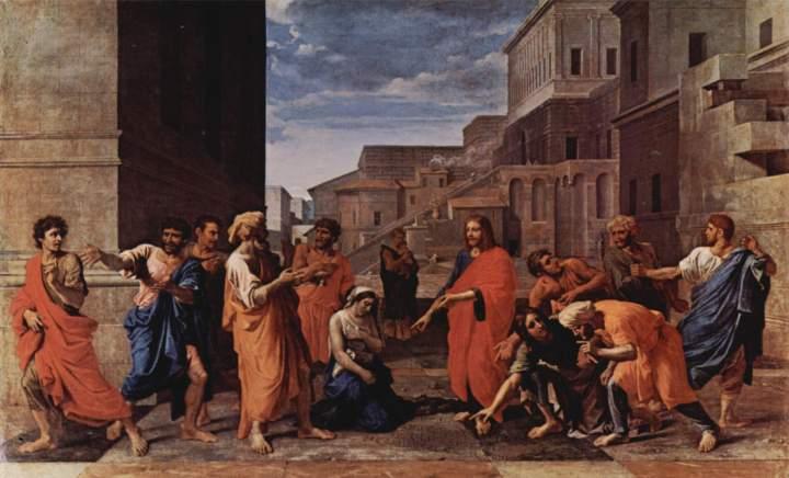 """Nicolas Poussin, Le Christ et la femme adultère, 1653, musée du Louvre à Paris © Wikipedia. Cette composition du maître français, représentant la femme adultère, se lit en commençant par le centre. Peinte pour André Le Nôtre, la toile est ancrée dans le quotidien. Le Christ, par sa parabole, nous éclaire de sa miséricorde, il nous engage à pardonner et à nous convertir, il ne condamne pas les pêcheurs mais il excuse et rachète nos fautes. """"Va, désormais ne pêche plus."""""""
