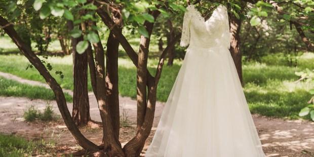 Robe de mariée dans la nature
