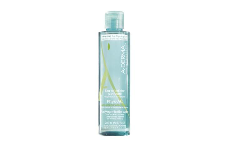 Flacon d'Eau micellaire purifiante Phys-Ac aux plantules d'avoine Rhéalba pour les peaux à tendance acnéique de la marque A-Derma.