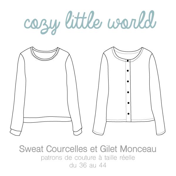 CROQUIS GILET MONCEAU / SWEAT COURCELLES