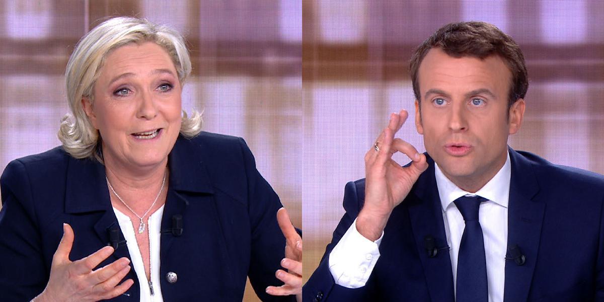 MARINE LE PEN ET EMMANUEL MACRON LORS DU DÉBAT DE L'ENTRE-DEUX-TOURS.