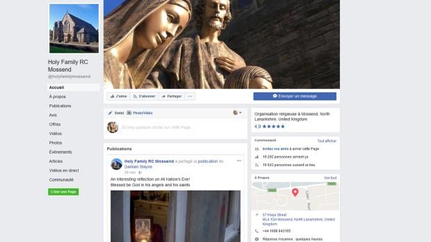 CAPTURE D'ECRAN DE LA PAGE FACEBOOK DE LA PAROISSE DE MOSSEND