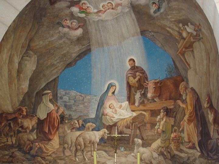 fresque dans le sanctuaire au Champ des bergers à Bethléem