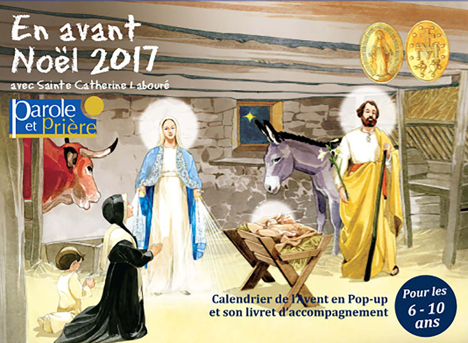 couverture livre En avant Noël 2017 avec sainte Catherine Labouré 6-10 ans Parole et Prière