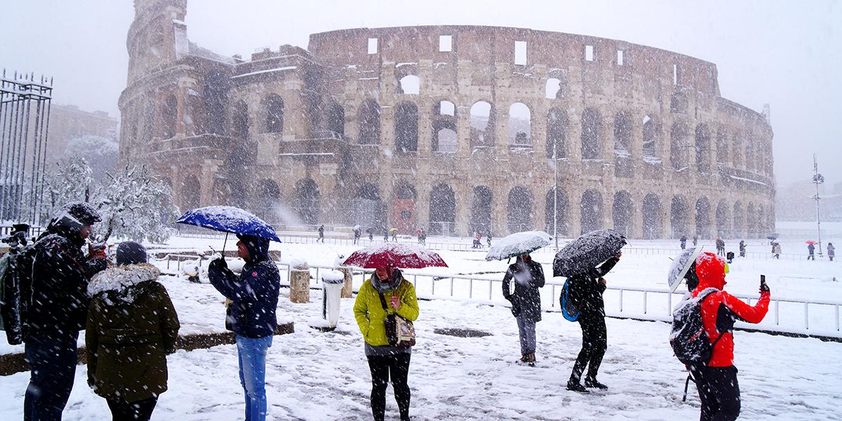 Colosseum snow Rome