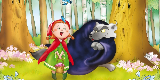 RED RIDING HOOD AND THE BIG BAD WOLF IN THE WOOD