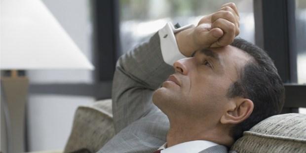 man, midlife crisis, work, tired