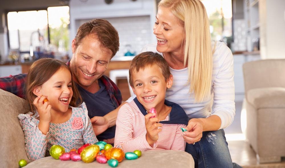 FAMILY CELEBRATING EASTER