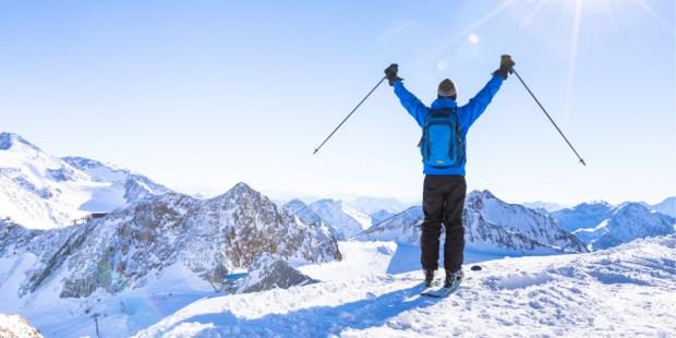 ski, montagne, ascension