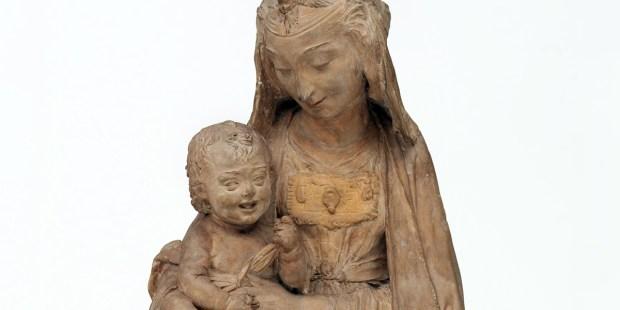 STATUE LEONARDO DA VINCI Vierge Marie avec l'enfant qui rit, Albert Museum