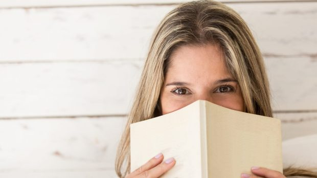 woman, book,