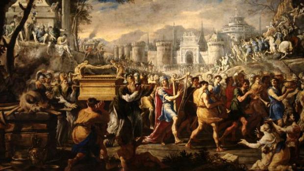 Le roi David portant l'arche d'Alliance à Jérusalem.