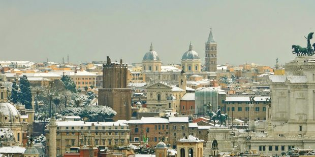 skyline of rome under snow - Image