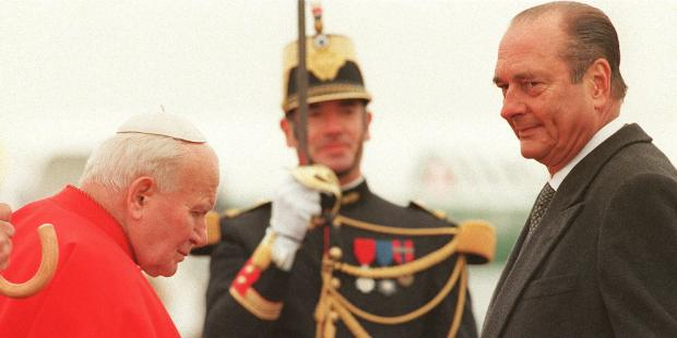 Jean Paul II et Jacques Chirac