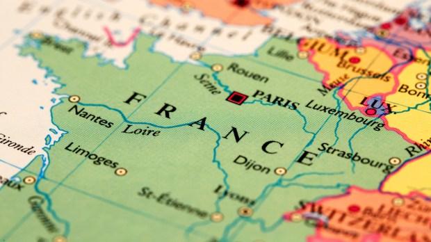 France on atlas world map